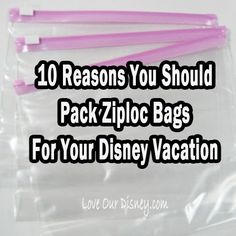 """@alishamisha - I know a family/ families who love their ziplocs :) """"Love Our Disney: 10 Reasons Why You Should Take Ziploc Bags to Disney"""""""