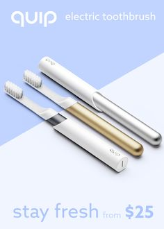 Time for an upgrade! Get quip and you can 1) Forget about trips to the store thanks to $5 brush head refills delivered every 3 months 2) Ensure a dentist ready clean, thanks to gently vibrating bristles and 2 minute timer,  3) Boost your bathroom style thanks to our slim metal design and included travel cover/wall mount! (you'll want to pick it up twice a day!) quip - oral care simplified. From $25!