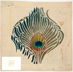 A sketch of symmetrical overlapping peacock feathers with the central, large feather coloured in gold green and blue, and the eye part in mauve, orange, green and blue. This is a preparatory drawing for a wallcovering, produced on grass paper by Arthur Silver for Rottmann-Silver in 1884