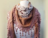 Scarf - TAUPE/BEIGE/Antique Mauve with richly frilled edge - scarflette cowl neckwarmer - Autumn/Winter
