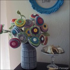 Felted Wool Posies and Wool Vase by Creative Passage