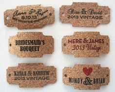 Cork Tags, personalized to match your rustic, vintage, vineyard wedding. www.sofiainvitations.etsy.com
