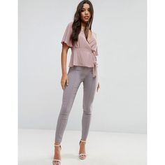 ASOS High Waist Pants In Skinny Fit (€35) ❤ liked on Polyvore featuring pants, pink, tall pants, rayon pants, high waisted skinny trousers, stretch skinny pants and stretch pants