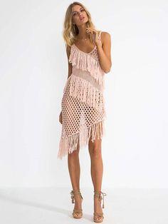 64edf71c4e96b 2017 Newest Knitted hollow tassel Bikini Cover Up Summer Beach Dress  Crochet beach cover-ups Swimwear Tunic Saida de Praia