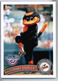 2011 Topps Opening Day Mascots Baseball Card #M3 Baltimore Orioles - Baltimore Orioles - MLB Trading Card In A Protective Screwdown Display Case! by Topps. $3.95. NOTE: Stock Image is Used, please contact the seller if you have any questions. Look for thousands of other great sportscards of your favorite player or team. Card is in a protective screwdown case to preserve its condition!. Great looking 2011 Topps Opening Day Baseball Card!. This is just one of 220...