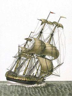 avío de Línea Español del porte de 74 cañones visto por la amura de barlovento navegando a un largo y acortando de vela sobre una ráfaga. Agustín Berlinguero