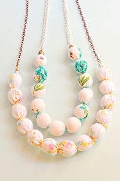 Fabric bead necklaces - cute craft activity for a birthday party