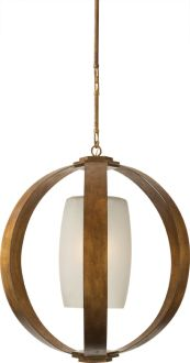 METAL BANDED LARGE PENDANT Circa lighting.  Too boring? Entry light?, simple geometric shapes, could use different finsihes, do in wood, metal, different form inside