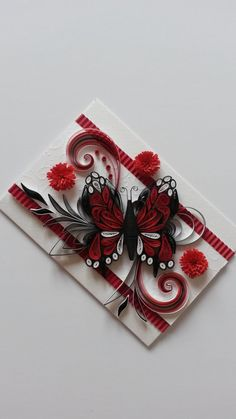 Beautiful Handmade Quilling Card - Quilling Ornaments - Red Butterfly - Greeting Card - Birthday Card