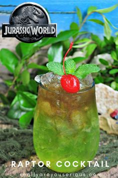 Cocktail inspired by Jurassic World Fallen Kingdom A Raptor Cocktail adult beverage with alcohol inspired by via SeriousKrystynA Raptor Cocktail adult beverage with alcoh. Liquor Drinks, Non Alcoholic Drinks, Cocktail Drinks, Cocktail Recipes, Beverages, Cocktails, Halloween Alcoholic Drinks, Alcohol Drink Recipes, Fireball Recipes