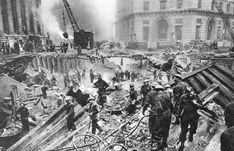 This image is taken from the London Blitz. The blast damage pictured occurred during an air-raid which took place on Jan 11th 1941. An estimated 51 people were killed, many of who were sheltering on the tube platforms deep below. Unsurprisingly, this photo was censored at the time and not published until well after WWII. London History, Air Raid, In The Heart, The World's Greatest, World War Two, Tour Guide, Wwii, Shelter, Tube