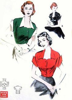 1950s Quick n Easy Blouse Pattern Butterick 6044 Sweetheart Portrait Neckline Wing Cuff Kimono Sleeves Rockabilly Style Vintage Sewing Pattern Bust 36
