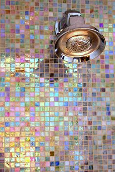 Iridescent bathroom tile. Waking up in the morning and showering with these beautiful tiles would make my day! :)