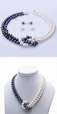 White & Blue Freshwater Pearl Necklace & Earring Set: