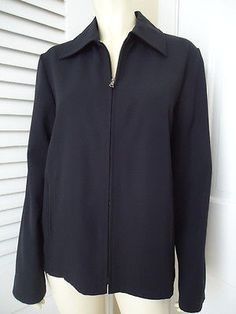 J CREW Jacket 6 Zip Front Dark Navy Wool Gabardine Collar Pockets Lined CLASSY!