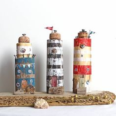 Driftwood ornaments & decor in scandinavian style by HousesAnyaSol Driftwood Projects, Driftwood Art, Cardboard Art, Beach Crafts, Crafts For Kids, Craft Kids, Rock Crafts, Miniature Houses, Recycled Wood