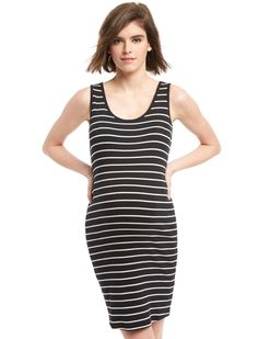 motherhood maternity bumpstart sleeveless lightweight maternity dress - black and white stripe