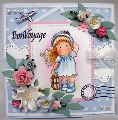Tilda on the Loose. Bon Voyage Collection. Card created by Jodie from Oz Magnolia Style.