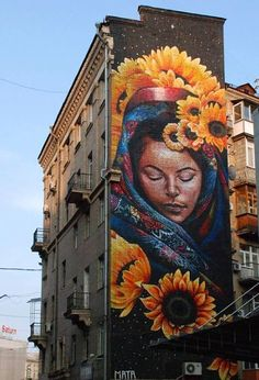 "Wicked large scale #streetart by Mataruda called ""Protectress"" in Kiev, #Ukraine…"
