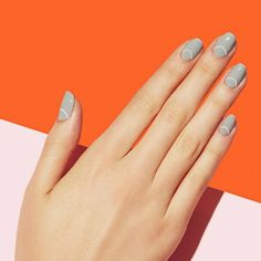Light grey with traced half moon nail art