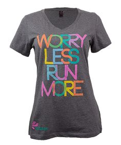 Look at this The Color Run Charcoal 'Worry Less Run More' V-Neck Tee - Plus Too on #zulily today!
