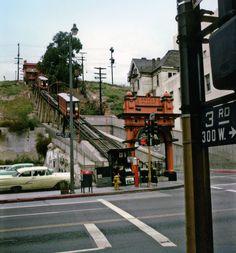 LOS ANGELES - DOWNTOWN:  Angels Flight, Downtown LA, 1960's.