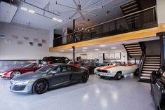 Warehouse Living, Warehouse Home, Warehouse Design, Man Cave Warehouse, Garage Furniture, Garage Interior, Automotive Furniture, Automotive Decor, Furniture Design
