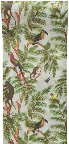 "Miki Rose - 'Jungle PrintξWallpaper' ""A superb jungle printξwallpaper design by Miki Rose featuring subtle palm leaves, parrots, monkeys and a wonderful Toucan. Tropical Wallpaper, Bird Wallpaper, Print Wallpaper, Wallpaper Roll, Wallpaper Jungle, Monkey Wallpaper, Animal Wallpaper, Chinoiserie, Botanical Interior"