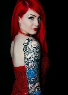 Blue Rose and Skull Tattoo: Arm Tattoos for Girls
