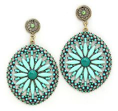Amria Statement Earrings in Mint on Emma Stine Limited