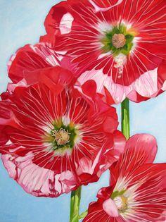 """Nieley Harris: """"Maine Hollyhocks"""" 30""""x40"""" oil on canvas"""