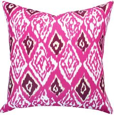 [a pink pillow would be a fun pop of color with surrounding turquoise/navy pillows} Ashbury Ikat, Hot Pink