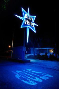 Blue Skies by Toby Keller Love Blue, New Blue, Neon Azul, Orange Pastel, Image Bleu, Blue Aesthetic Dark, Everything Is Blue, Vintage Neon Signs, Blue Wallpapers