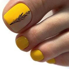stylish and delicate toenails design example - Page 97 of 100 - Inspiration Diary Yellow Toe Nails, Toe Nail Color, Toe Nail Art, Nail Colors, Pedicure Designs, Pedicure Nail Art, Toe Nail Designs, Pedicure Ideas, Art Designs