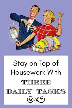 """Stay on top of housework with """"Three Daily Tasks"""" #homemaking #cleaning #housework Chore Chart Kids, Chore Charts, Cleaning Checklist, Cleaning Schedules, Raising Daughters, Daily Task, Toddler Schedule, Toddler Discipline, Chores For Kids"""