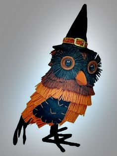 Halloween Owl Figurine.  Target Halloween 2015 line is sadly lacking of anything with a vintage influence.  This little owl has a primitive feel, so he will have to do.  He is kinda cute, though. Vintage Halloween Decorating & Retro Theme Party Ideas