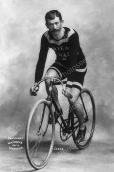 Bicycle Racer Poses On Vintage Bike 1900s 4x6 Reprint Of Old Photo