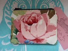 Handmade Card Coin Purse Flowers Roses Linen Cosmetic Nailpolish Lipstick