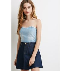 Forever 21 Strapless Denim Crop Top (8.71 AUD) ❤ liked on Polyvore