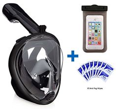 Snorkel Mask 180° view for Adults and Youth. Full Face Free Breathing Design. Prevent Gag Reflex with Tubeless Design. [Free Bonuses] Cell Phone Universal Waterproof Case (Dry Bag) and Anti-Fog wipes Black X/XL - http://scuba.megainfohouse.com/snorkel-mask-180-view-for-adults-and-youth-full-face-free-breathing-design-prevent-gag-reflex-with-tubeless-design-free-bonuses-cell-phone-universal-waterproof-case-dry-bag-and-anti-fog-w-2/