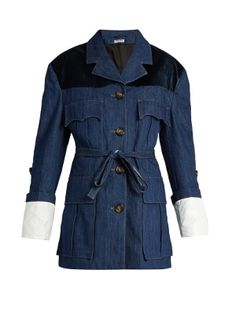 Velvet-yoke denim jacket | Miu Miu | MATCHESFASHION.COM