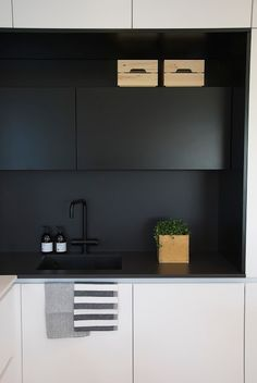 Black and white kitchen by Lube. Honka Markki show house, Housing Fair 2016, Finland.