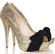Miu Miu glitter peep toe pumps.  I want these for the holidays.