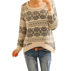 Chuangmei Womens Ladies Long Sleeve Knit Loose Casual Winter Pullover Sweaters Beige US 4-8(Asian Regular Size)