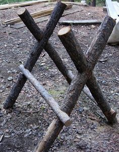 I made myself this sawhorse out of Douglas Fir logs so I could buck my firewood more easily.