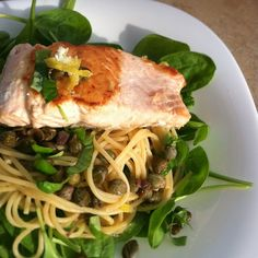 Whole grain spinach and lemon pasta with grilled salmon