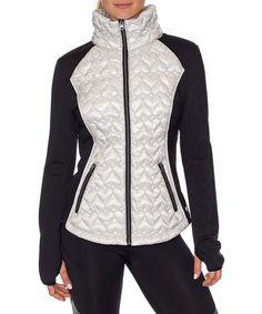 Look at this #zulilyfind! Black & White Quilted Hybrid Jacket   Betsey Johnson #zulilyfinds