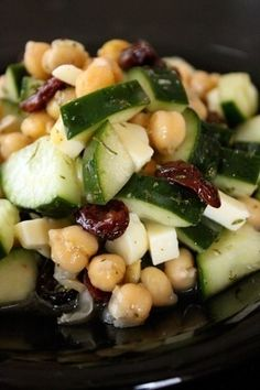Chickpea and Cucumber Salad with Dried Cherries and Cheese photo