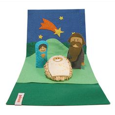 Felt Nativity Scene 3 Felt Finger Puppets Nativity Set di pukaca