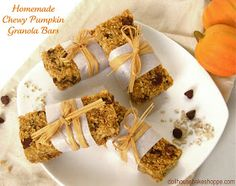 Dollhouse Bake Shoppe: Chewy Pumpkin Pecan Maple Chocolate Chip Granola Bars (egg free, dairy free, with low fat & gluten free options)